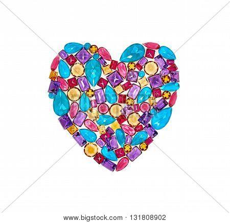 Fashion lot of gemstone heart shape. Luxury shiny glamor colorful placer. Awesome precious stones mosaic, multicolored creative unusual decoration. Love concept.Celebration holiday background isolated