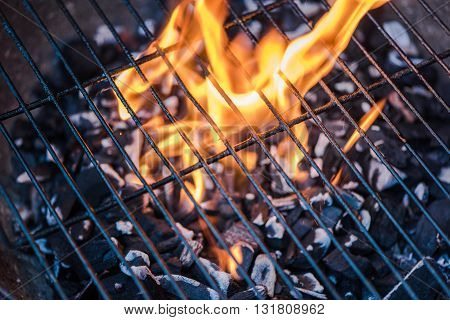 Empty Hot Charcoal Barbecue Grill With  Flame