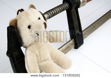 Clamp on the head teddy bear toy poster