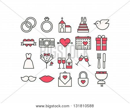 Set of wedding colored outline icons decoration
