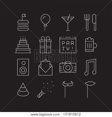 Ultra thin outline icons for party. Food drink cake music and other symbols