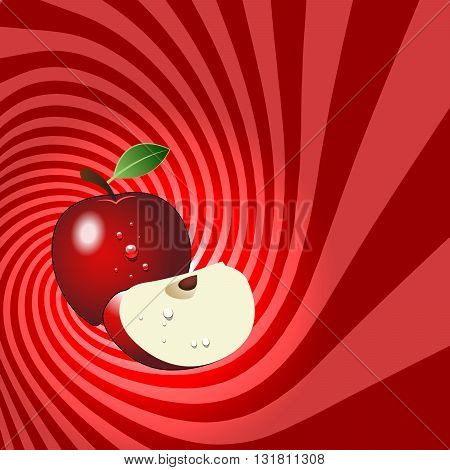 Striped spiral apple patisserie background. Apple fruit color. Apple spiral tunnel. Spiral background for cover design of apple fruit products. Vector Illustration.