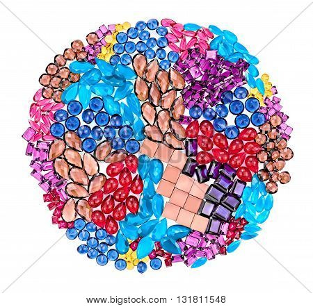 Fashion lot of gemstone. Luxury shiny glamor colorful placer. Awesome precious stones, multicolored creative unusual party decoration.Celebration holiday concept. Abstract background, closeup isolated