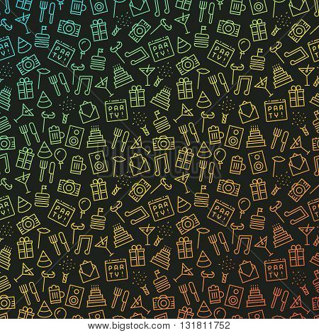 Party background with many red yellow and blue gradient colored outline icons on dark gray backdrop
