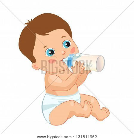 Infant Child Baby Toddler Sitting And Drinking From The Feeding Bottle. Vector Isolated On A White Background.