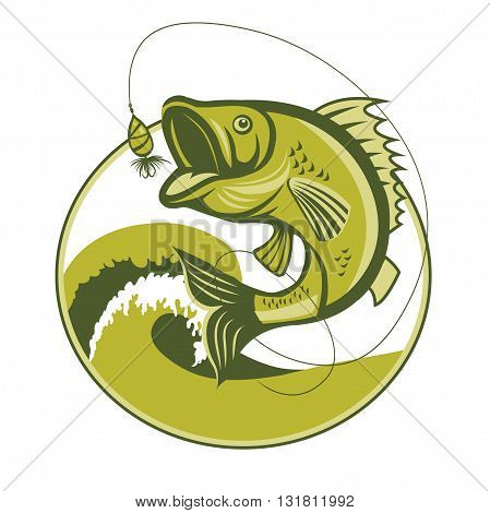 Bass Fish. Bass Fishing tackle. Bass Fishing hook. Catching Bass Fish Vector. Fish Mascot. Fish Jumping Of Water. Perch Fishing Vector Illustration. Fish Jumping With Waves Inside Circle On Isolated White Background.
