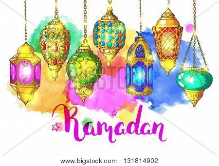 Ramadan Kareem. Colorful shiny Arabic lanterns. Bright vector watercolor background. Ink hand drawn inscription. Typography. Brush lettering. Calligraphy. Ramadan greeting card. Watercolor card.