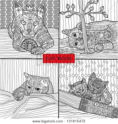 Coloring book for adults - 2 set of four drawings coloring cat pages for adults and children, vector, cat book, zenart