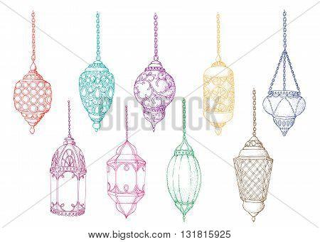 Set of colorful arabic lanterns. Ramadan Kareem. Islamic colorful holiday vector background. Hand drawn elements for Islamic holiday Ramadan Kareem. Sketch. Isolated.