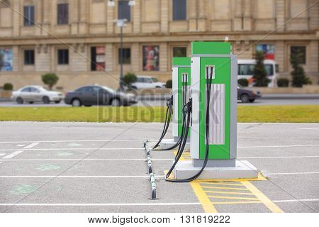 The electric charging station for electric vehicles. An electric car charging.