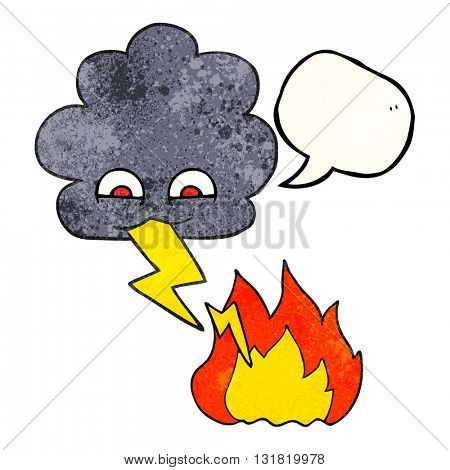 freehand speech bubble textured cartoon thundercloud lightning strike