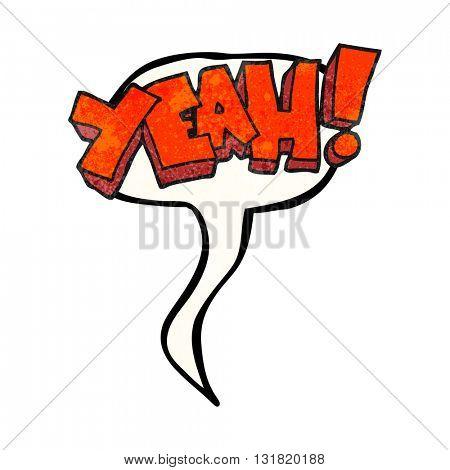 yeah! freehand speech bubble textured cartoon shout