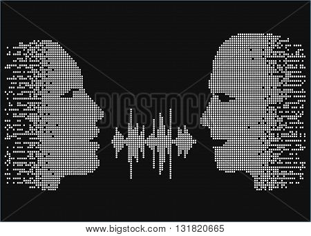 Vector illustration of two people talk face to face. Pixel silhouettes of talking man and women. Two people share words by sound wave equalizer.