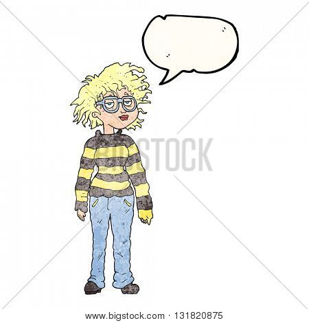 freehand speech bubble textured cartoon geeky girl