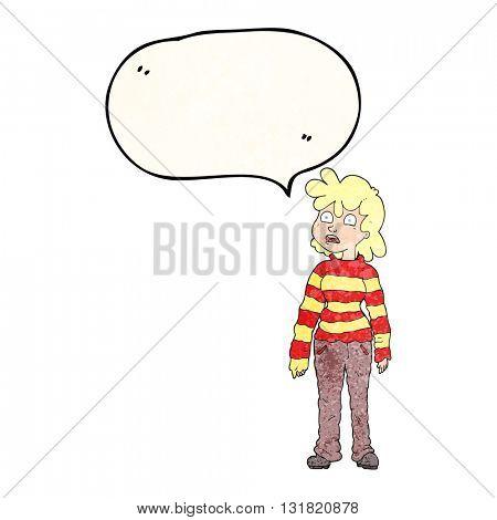 freehand speech bubble textured cartoon teenager