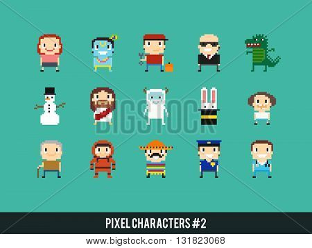 Set of different pixel characters. Medic police man astronaut bodyguard mexican guy yeti dinosaur monster and other