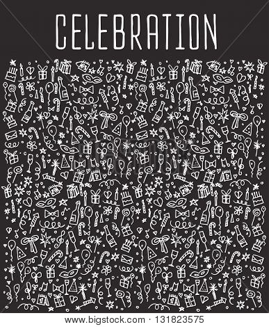 Celebration, happy birthday doodles elements, Celebration, background. Celebration  seamless. Celebration Vector sketchy illustration