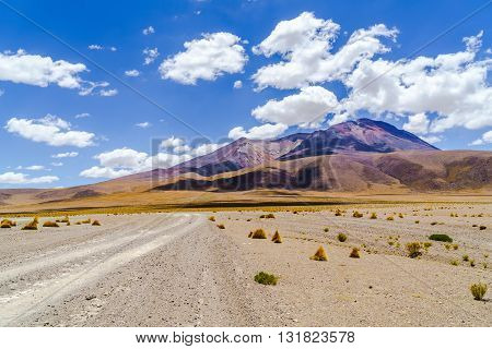View of the crater of dormant volcano in the desert Bolivia