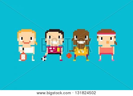 Pixel art sport characters for tennis soccer football basketball and fitness