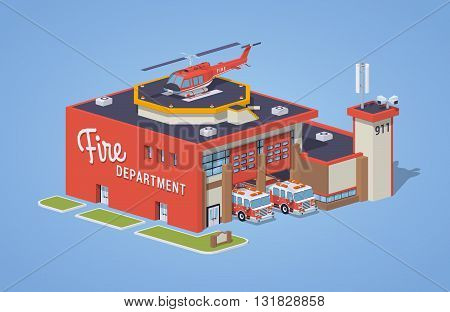 Fire station against the blue background. 3D lowpoly isometric vector illustration