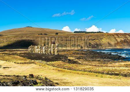 Standing Moai at Ahu Tongariki and The Pacific Ocean