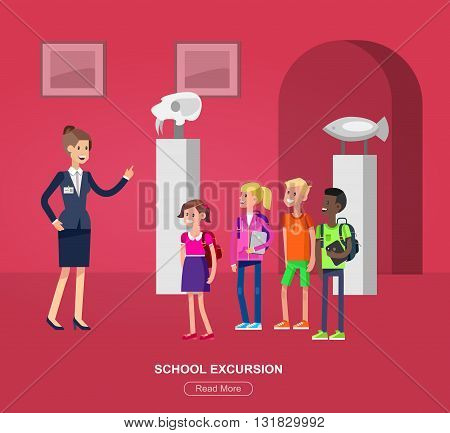 Funny character people in museum. Archeological museum of antiquity and natural science exposition for children, guided tour, exhibition space, flat banners set