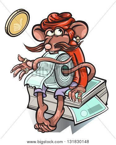 Little mouse who sells tickets for the bus.vector