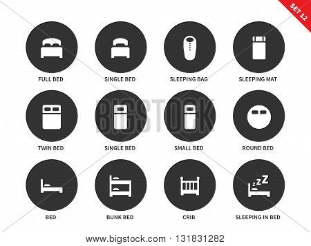 Hotel beds vector icons set for tourists, full bed, single bed, sleeping bag and mat, bunk bed, crib and round bed. Hotel sleep signs. Isolated on white background