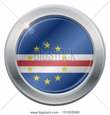 A Cape Verde flag silver icon isolated on a white background