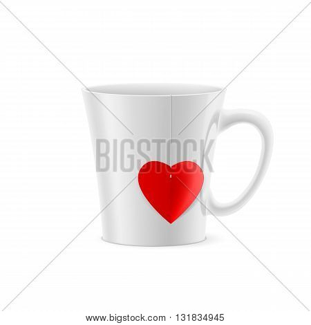 White cup with tapered bottom with a tea bag in the form of heart