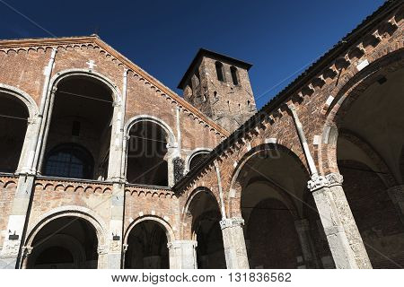 Milan (Lombardy Italy): the medieval church of Sant'Ambrogio in Romanesque style. Facade and portico