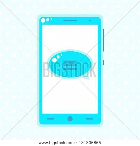 Blue Mobile Phone With Speech Buble