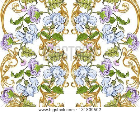 Floral ornament with baroque pattern on a white background.