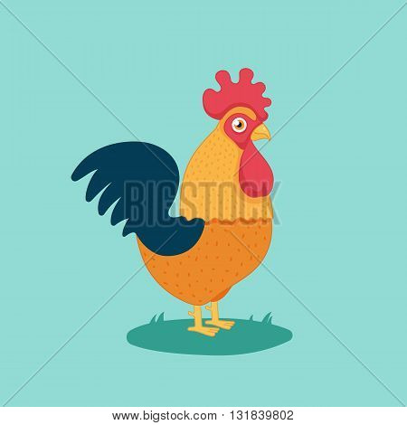 cartoon cock, funny bird, farm.Vector Illustration of cock.isolated on white background.