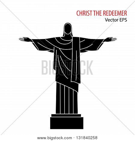 Vector Flat  Icon of Christ the Redeemer, Rio De Janeiro, Brazil