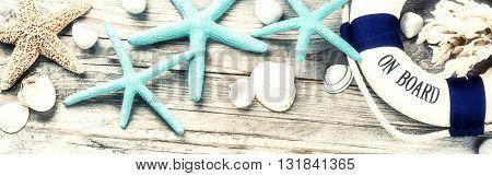 Summer holiday frame with seashells and decorative lifebuoy