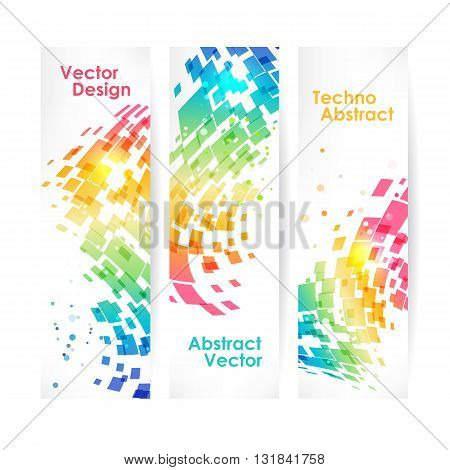 Abstract multicolored geometric background set of banners