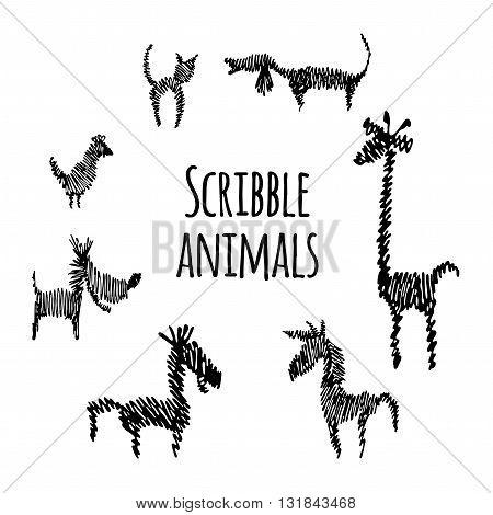 Scribble set of animals.  Isolated animals on white background. Black contour animals logotype. Scribble style animals. Scribble animals logo.