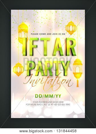Glossy Green Text Iftar Party with Golden Hanging Lamps, Elegant Invitation Card design for Islamic Holy Month of Fasting, Ramadan Kareem celebration.
