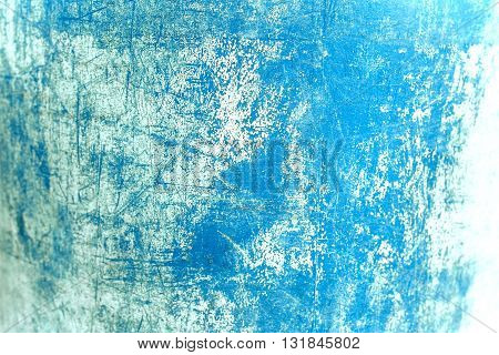 Old and vintage grunge background / Grain blue paint wall background or texture with scratches