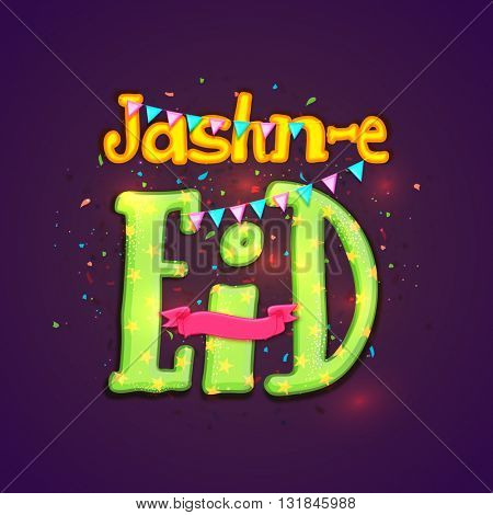 Glowing stylish text Jashn-e-Eid on shiny purple background with ribbon and party flags for Muslim Community Festival Celebration.