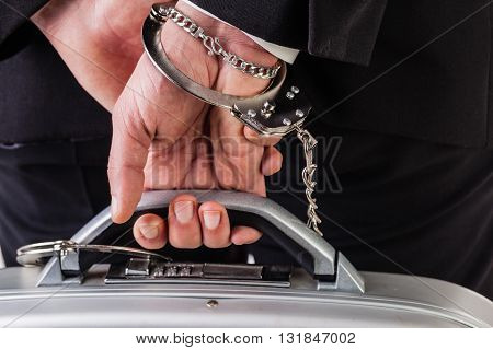 Suitcase Attached With Handcuffs And Locked