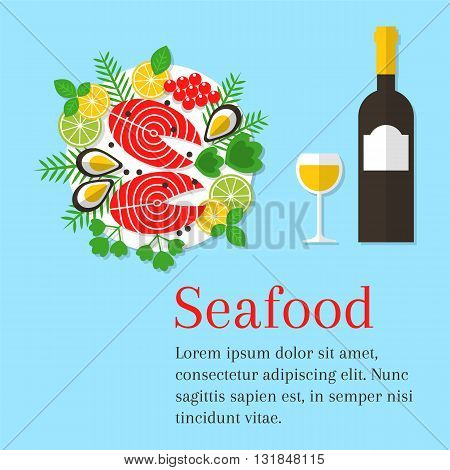 Seafood platter vector flat illustration. Cooked salmon steak on a plate with lemon and wine bottle. Fresh seafood background. Seafood restaurant menu. Seafood dinner.