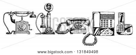 Vector illustration of the phone evolution set. Set in ink hand drawn style. Typical telephone end of XVIII century candlestick telephone rotary dial telephone of 1940s push-button phone with answering machine of 1980s modern cordless telephone.