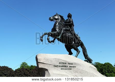 Monument to the Russian tsar (king) Peter I on the Senate Square (