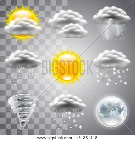 Weather icons detailed photo realistic vector set