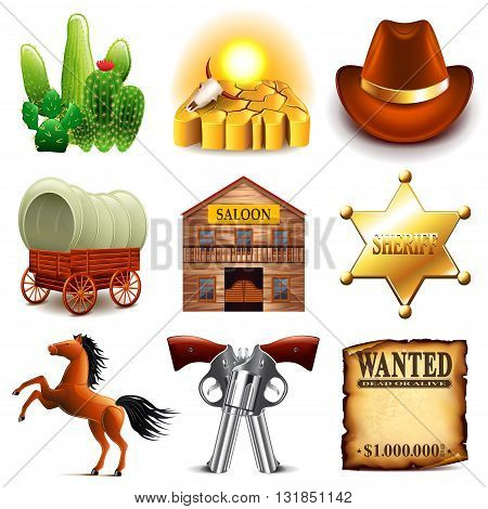 Wild west icons detailed photo realistic vector set