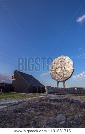 Big Nickel Landmark Ontario Canada during sunset