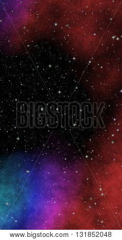 New panoramic looking into deep space. Secrets and mysteries of the universe. Dark night sky full of stars. The nebula in outer space.