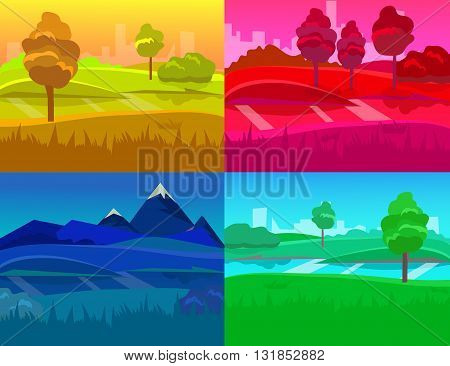 cartoon desert landscape, vector background landscape with desert, herbs, mountains and sky. Vector landscape, landscape daytime landscape, night landscape, sunset landscape, landscape sunrise
